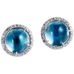 Mystical Moonstone and Diamond Stud Earrings