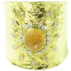 A Citrine Diamond Gold Cuff Bracelet.