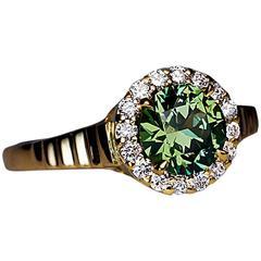 1.23 Ct Russian Demantoid Diamond Engagement Ring