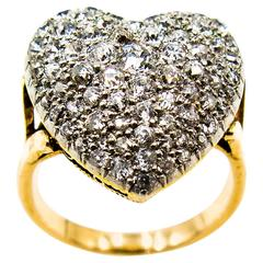 Romantic  Pave Diamond Heart Gold Ring