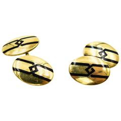 Elegant Geometric Gold and Enamel Art Deco Cufflinks