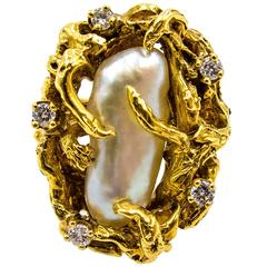 1960's   Pearl Diamond Arboreal Gold Ring