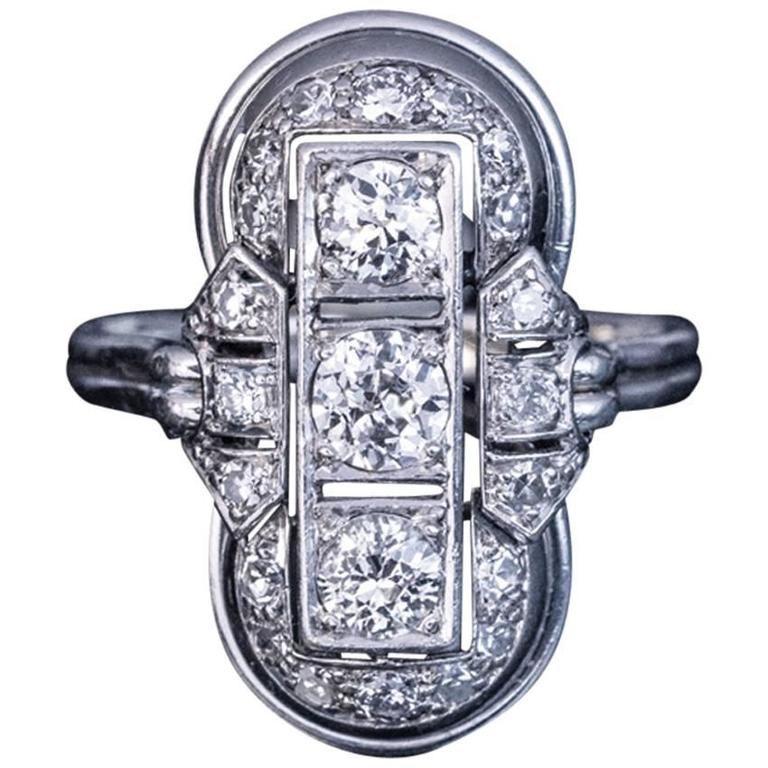 Art Deco Platinum Diamond Ring 1930s 1
