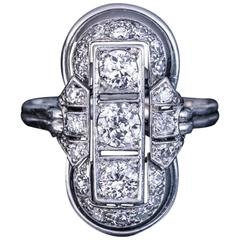 Art Deco Platinum Diamond Ring 1930s