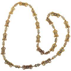 Elegant  Gold and Enameled Necklace