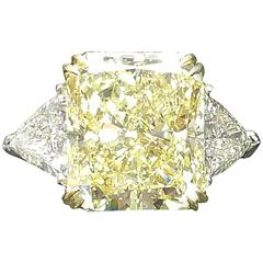 GIA Fancy Yellow Canary Color  13.02 Carat Diamond 3 Stone Ring