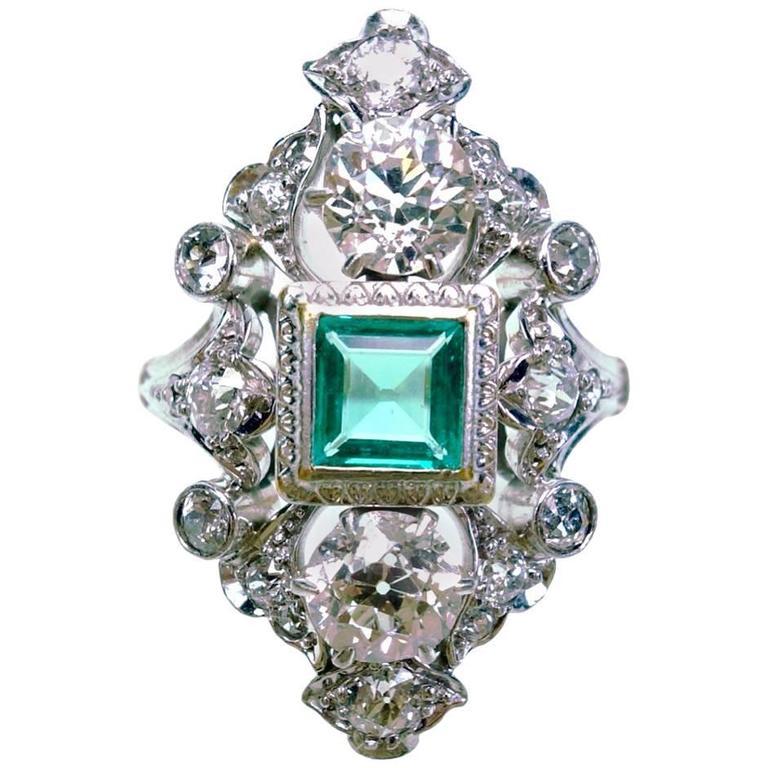 Antique Emerald Diamond Gold Platinum Ring  For Sale