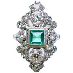 Antique Emerald Diamond Gold Platinum Ring