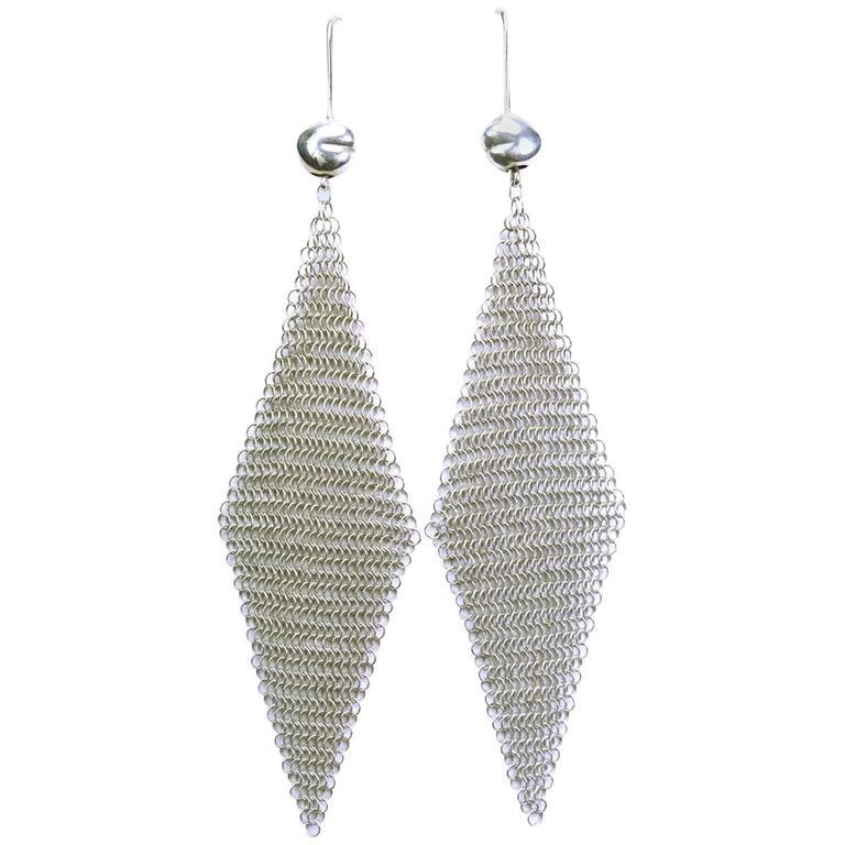 Tiffany And Co Elsa Peretti Sterling Silver Mesh Earrings