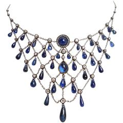 Gorgeous Edwardian Sapphire and Diamond Necklace
