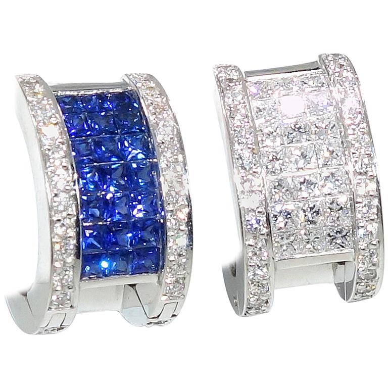 """Invisibly Set Sapphire Diamonds Gold """"Reversible"""" Earrings 1"""