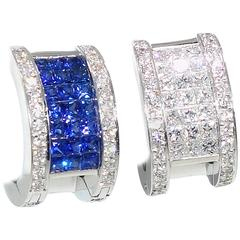 "Invisibly Set Sapphire Diamonds Gold ""Reversible"" Earrings"
