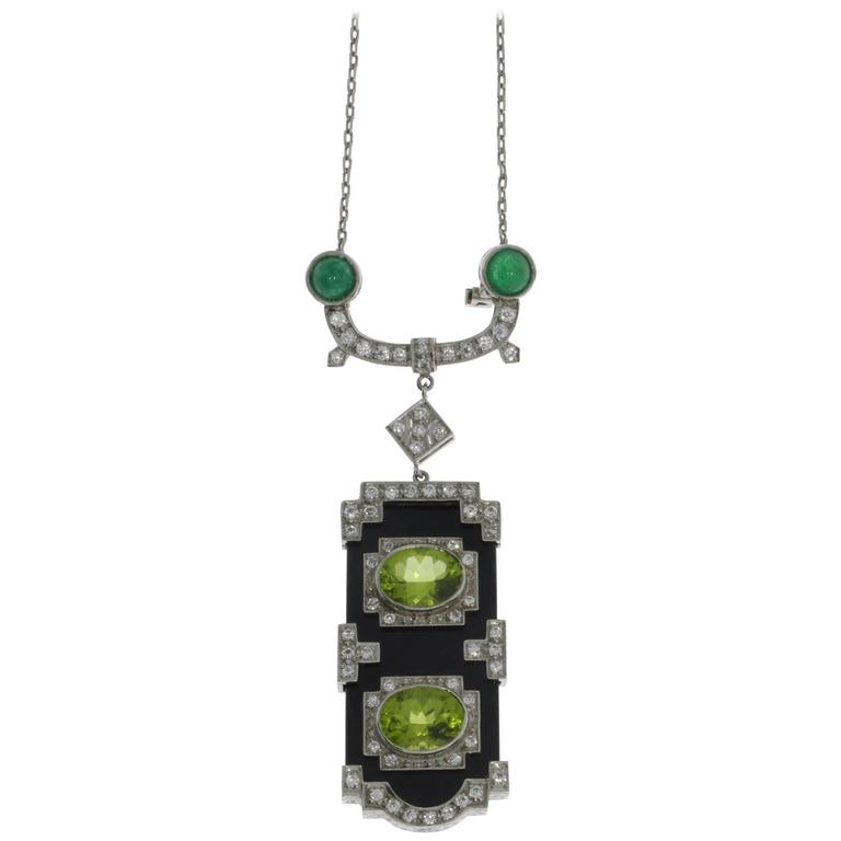 Onyx Peridot Emerald Diamond Gold Pendant Brooch