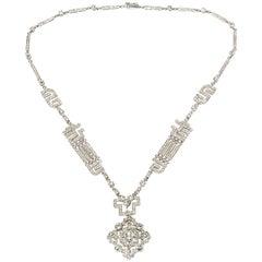 Diamond 18 Carat Gold Necklace in Art Deco Style