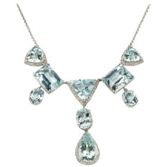 Aquamarine Diamonds 18 Carat Gold Necklace