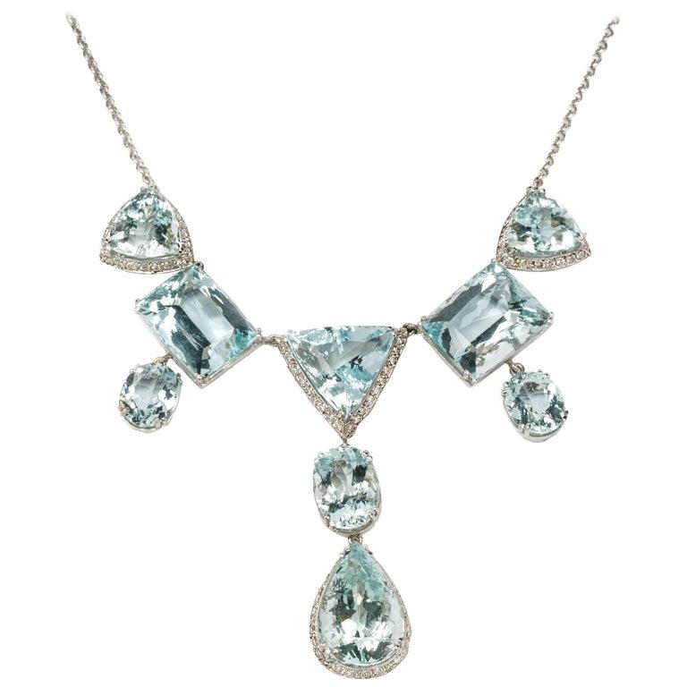 Elegant Aquamarine and Diamonds Necklace 1
