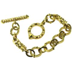 Exceptional Heavy Diamond Gold Solid Links Toggle Bracelet