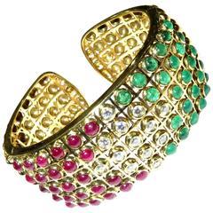 Stunning Bezel Set Ruby Emerald Diamond Gold Hinged Cuff Bracelet