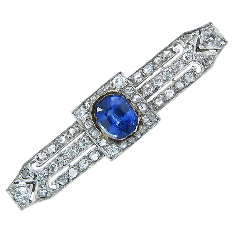 Art Deco Ceylon Sapphire Diamond Platinum Brooch