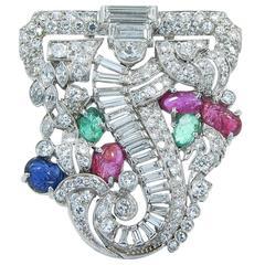 Art Deco Ruby Emerald Sapphire Diamond Platinum Brooch