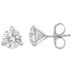 GIA Certified 2.47 Carats F VVS Diamonds Platinum Round Stud Earrings