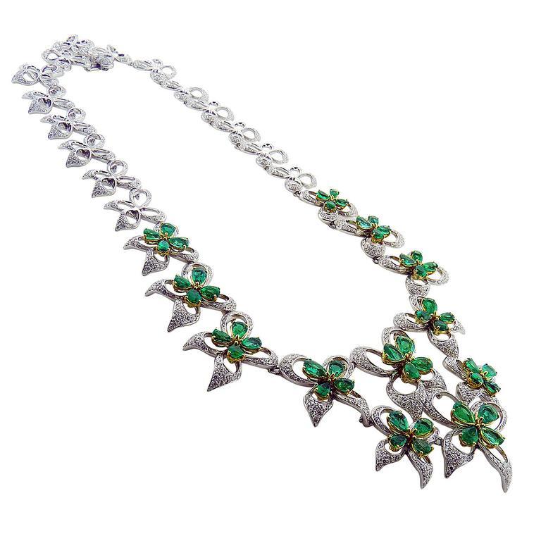 Ambrosi Emerald Diamond 18K White & Yellow Gold Flower Necklace