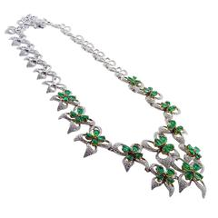 Ambrosi Emerald Diamond 18K White & Yellow Gold Flower Necklace