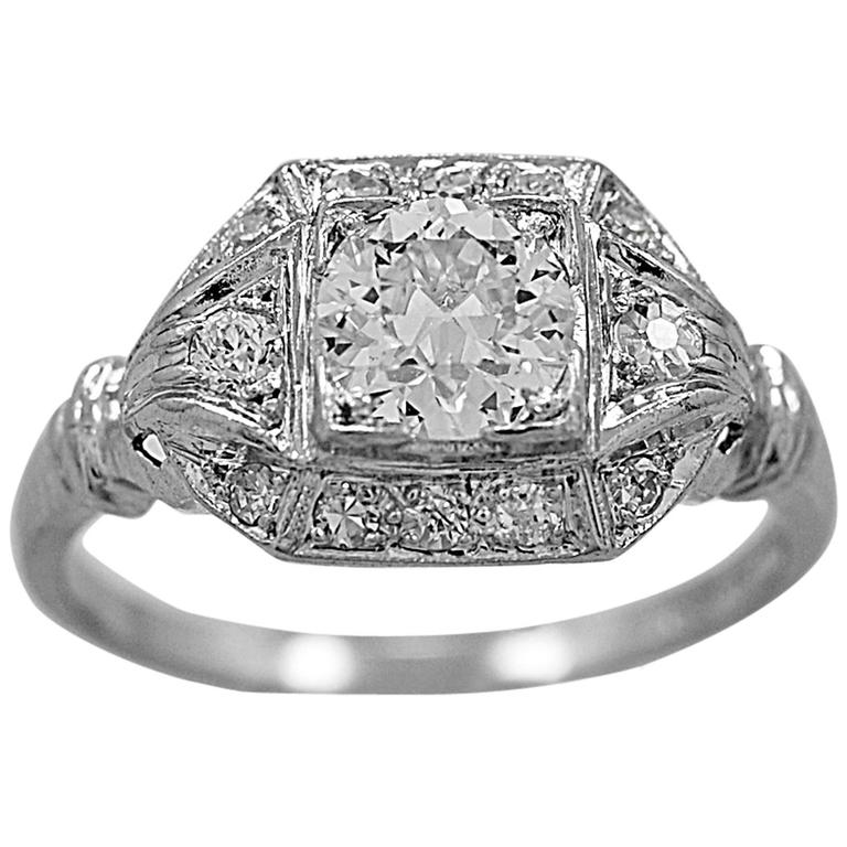 Antique Art Deco Diamond Platinum Engagement Ring For Sale