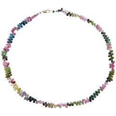 Pink Blue Yellow and Green Tourmaline Briolette Necklace