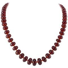 Large Orange Red Garnet Bead Necklace