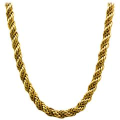 Gold Braided Rope Necklace