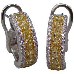 Yellow and White Diamond Hoop Earrings