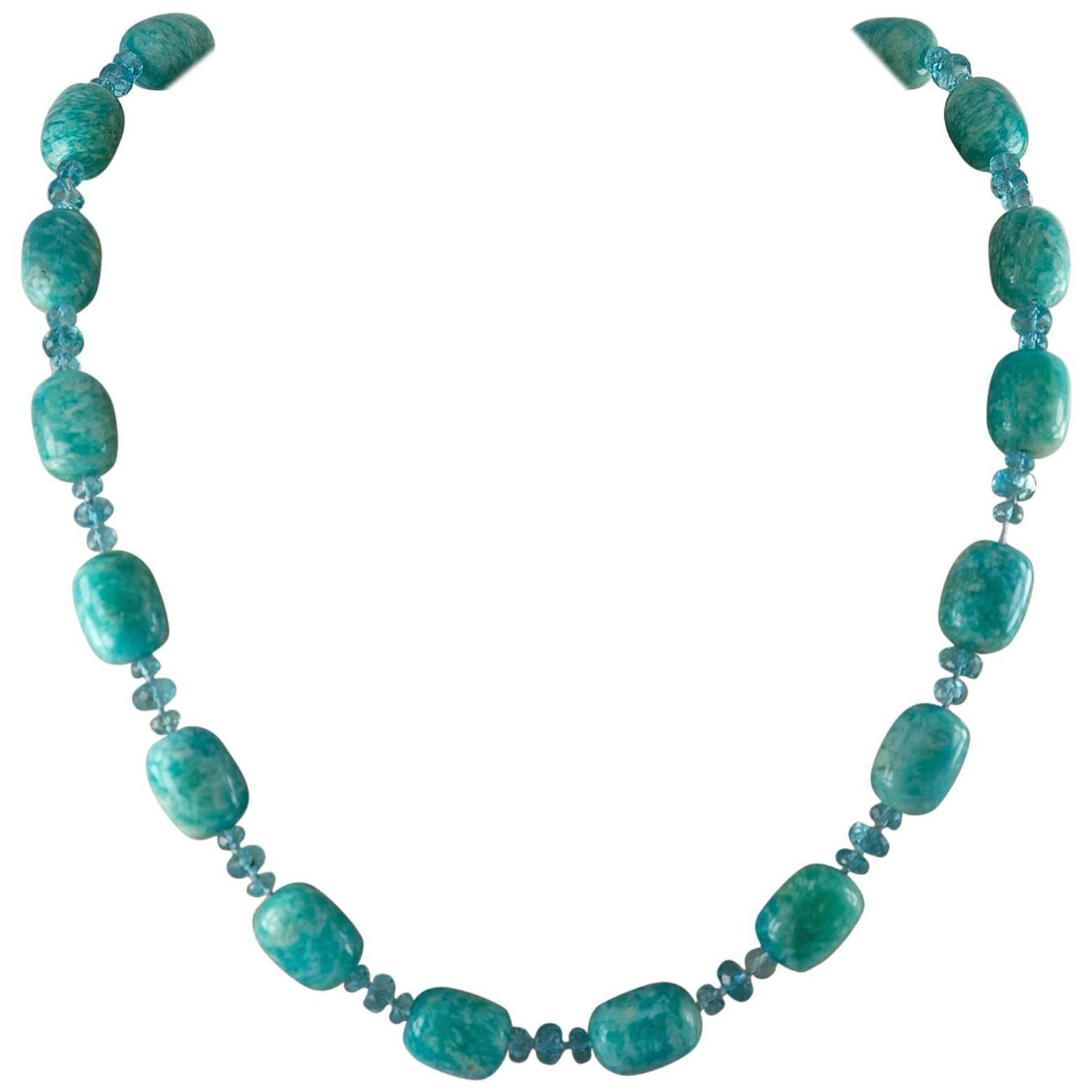 modern amazonite and apatite bead necklace at 1stdibs