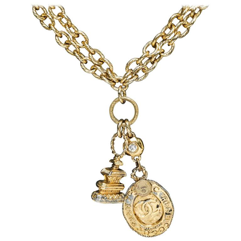 chanel gold cc vintage pagoda necklace at 1stdibs