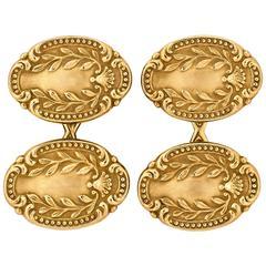 1900s Tiffany & Co. Victorian Gold Laurel Wreath Oval Cufflinks