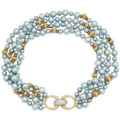1950s Tiffany & Co. Blue Pearl Diamond Gold Multi-Strand Necklace