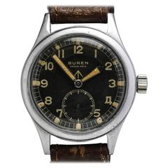 Buren Stainless Steel Grand Prix Military Wristwatch