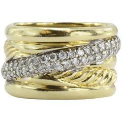 David Yurman Diamond Gold Cable Crossover Ring