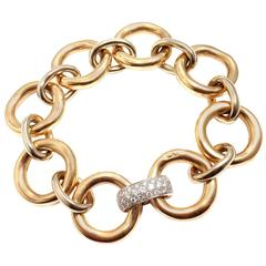Pomellato Diamond Two Color Gold Large Link Bracelet