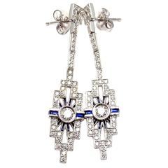 Hearts on Fire Metro Sapphire Diamond Gold Earrings