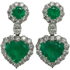 Emerald Diamond Gold Heart Shape Earrings
