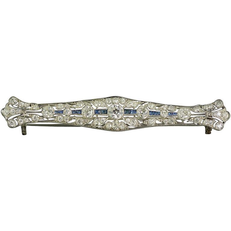 Edwardian Sapphire Diamond Platinum Brooch