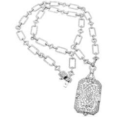 French Art Deco Diamond Platinum Long Necklace