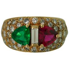 Keith Davis Emerald Ruby Diamond Gold Ring