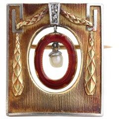 Theodor Fahrner Jugendstil Art Nouveau Enamel Gold Brooch