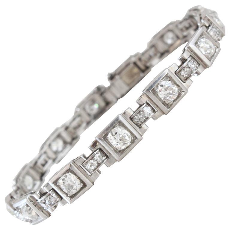 1930s French Art Deco Diamond Platinum Geometric Bracelet For Sale