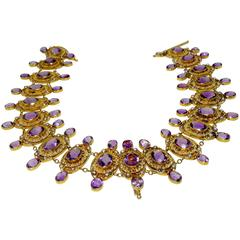 Victorian Matching Amethyst Pearl Gold Bracelets And Necklace