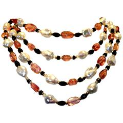 Hot Pink Tourmaline Baroque Pearl Onyx Gold Long Sautoir Necklace