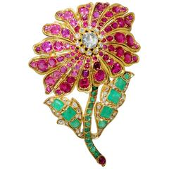 19th Century Ruby Emerald Diamond Gold Flower Brooch