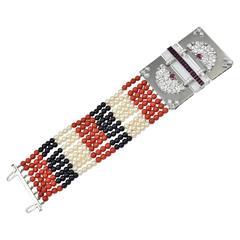 Rare Seaman Schepps Coral Onyx Ruby Diamond Platinum Bracelet